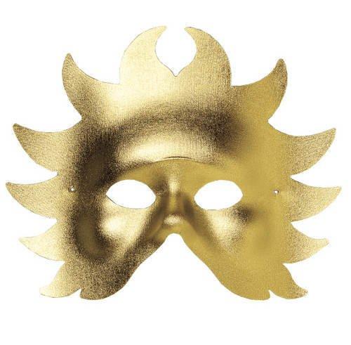 PARTY DISCOUNT Qualitäts-Maske Sonne aus Textil, Gold