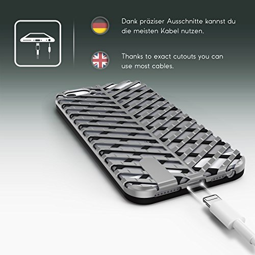 Urcover® Apple iPhone 5 / 5s / SE Schutzhülle Sword Series Back-Case Cover Gitter Schale Smartphone Schwarz / Silber Schwarz / Silber