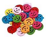 ewfsef Halloween calabaza Flatback botones de madera para manualidades de costura Scrapbooking Craft (aprox. 50pcs)