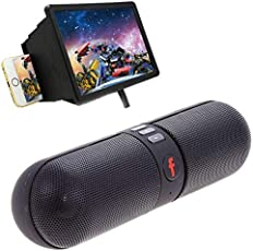 TECHPOOL Pill Shaped Bluetooth Speaker with F2 Mobile Phone 3D Screen Magnifier 3D Video Screen Amplifier Eyes Protection Enlarged Expander