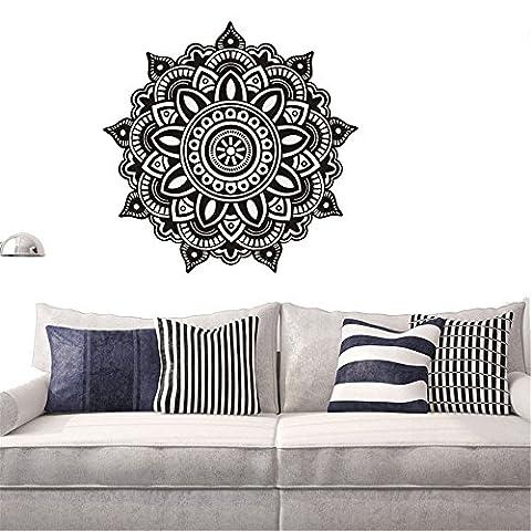 GossipBoy DIY Vinyl Wall Sticker Black - Mantra Mandala Flower for Meditation Yoga (57cm x 57cm) - Inspired Wall Art Decal Mural for Living Room Home Decor