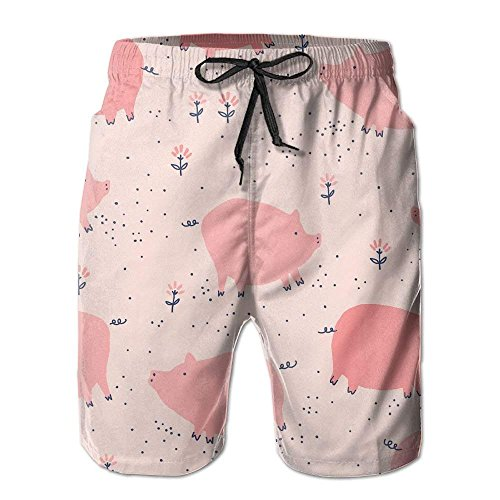 Fashion Men's Beach Pants Creative Blue and Black Line Design Beach Shorts for Man Casual Elastic Waist Pockets Lightweight Beachwear Boardshort,M