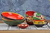 Teller, Keramik Geschirr, Steak Teller, Platte Bohemian Style Keramik Suppenteller Porzellan Geschirr Reisschüssel Teller Bohemian Kaffeetasse, kleine Schüssel Glasur uneben