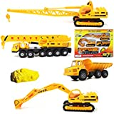 Die-cast Construction Toys Set Die Cast Metal Play Set For Boys Girls Baby 4 PC Set– Loader Truck, JCB, Shipping Crain Heavy Duty Crain Toy Set For Kids Mini Engineering Die Cast Construction Toy Set
