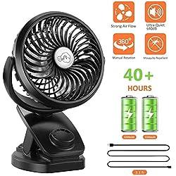 Fitfirst Mini Ventilateur USB de Bureau à Pince Portable Ventilateur de Table à Clip Silencieux avec Batteries de Lithium 5000 mAh Rechargeable Ventilateur de Refroidissement Rotation à 360°
