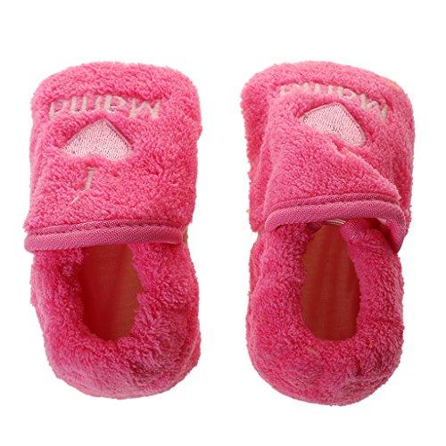 Generic Bambino Neonate Corallo Pile Inverno Caldo Scarpe Stivaletti Pattino Rosa rosso