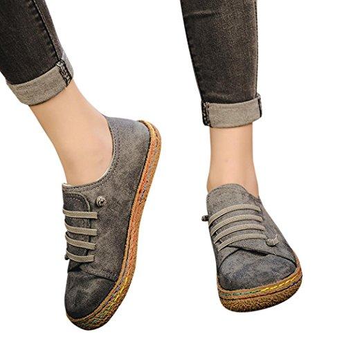 Scarpe donna,sandali,sneaker donna,scarpe outdoor multisport donna,yanhoo® scarpa singola donna morbida caviglia piatta scarpa stringata donna in pelle scamosciata (39, grigio)