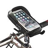 LBWNB Bike-Frame Bag-Bike Pannier Top Tube Wasserdichte Handlebar Taschen, Bike Pouch Phone Holder, Fahrradtasche Touch Screen für Smart Phone unter 6 Zoll,Black