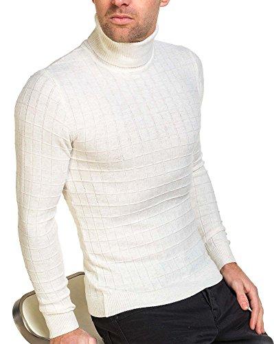 BLZ jeans - Pull fin homme beige col roulé quadrillé Beige