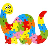 Ruikey Wooden Cartoon Animals 26 Alphabet Jigsaw Puzzle Children Early Education Cognitive Toy