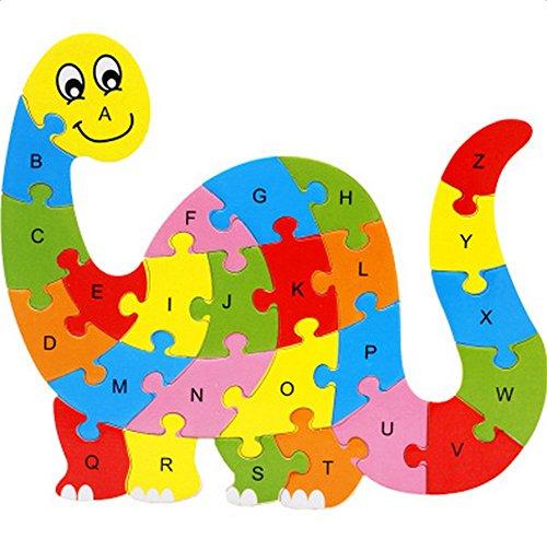 JUNGEN Niños Los juguetes educativos de madera dinosaurio 26 letras rompecabezas