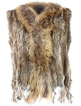 Glamexx24 Chalecos mujeres conejo de las mujeres reales de piel para el otoño y reversa.
