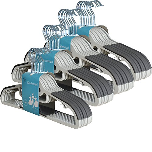 Style home 40 Stück 0,6cm dicke Kleiderbügel Anzugbügel mit rutschfester Oberfläche 360° drehbarer Haken Grau KB-G001-01