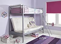 Tesco NEW Mika Single High Sleeper with Small Double Futon Bunk Bed Frame - Metal