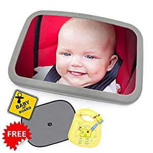 Zayk Extra Large Baby Car Mirror With Enhanced Visibility Clear View From All Angles Safely Designed Fully Adjustable Shock Absorbent Comes With Free Pair of Car Sun Shades, Baby On Board Sign And Baby Bib from Zayk