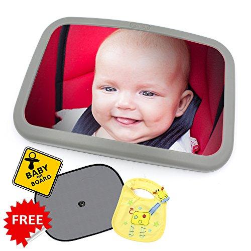 Preisvergleich Produktbild zayk Baby Extra große Baby Auto Spiegel mit zusätzlichen Bonus Paar Auto Sonnenschutz Lampenschirme, Baby on Board, Schild und Baby Lätzchen.