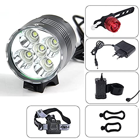 CDC® CREE XM-L T6 5 LED 6000Lm Bicycle Front Light Bulbs Phare randonnée à vélo Lumière Phare étanche rechargeable 7200mAh 8.4V 4 x 18650 Li-ion + EU chargeur pour Camping, Voyages, randonnée, pêche, vélo ect.