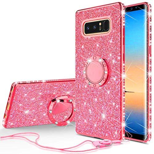 Soga (Diamond Bling Glitzer Cute Handy Case mit Ständer Kompatibel für Samsung Galaxy Note 8Case, Strass Slim Bumper mit Ring Ständer Mädchen Frauen Schutzhülle für Samsung Galaxy Note 8, rot