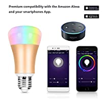 Wi-Fi Smart Bulb,Aizbo E27 RGBW Color Changing LED Bulb Works with Amazon Alexa,IOS/Android Tablet for Relaxation,Phone APP Control from Aizbo