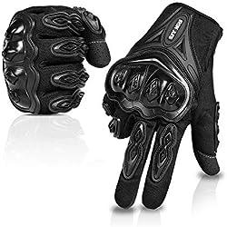 IRON JIA'S Par Guantes Dedo Completo PU Proteccion para Moto Bici Motocicleta Motorista puede pantalla táctil ... (L, negro)