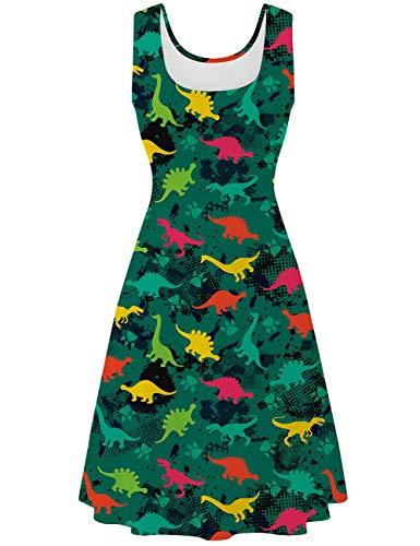 Kostüm Party Dinosaurier Stadt - uideazone Damen Ärmelloses Kleid Beiläufiges Sommerkleid Strandkleid Midi Tank Kleid Ausgestelltes Trägerkleid Knielang A Linien Kleid (Grün-Dinosaurier, L)