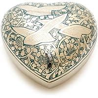 """Urns UK–Urna de cremación corazón recuerdo urna Althorp Azul 3""""recuerdos"""
