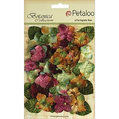 Abbellimenti floreali velluto ortensie con Glitter 36/Pkg-Marrone
