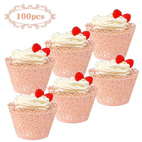 Rosa Lace Cupcake Wrapper Kuchen Verpackung Lasergeschnitten Muffinförmchen Papierbecher Dekoration Kit für Hochzeit Geburtstag Jubiläum Babydusche ()