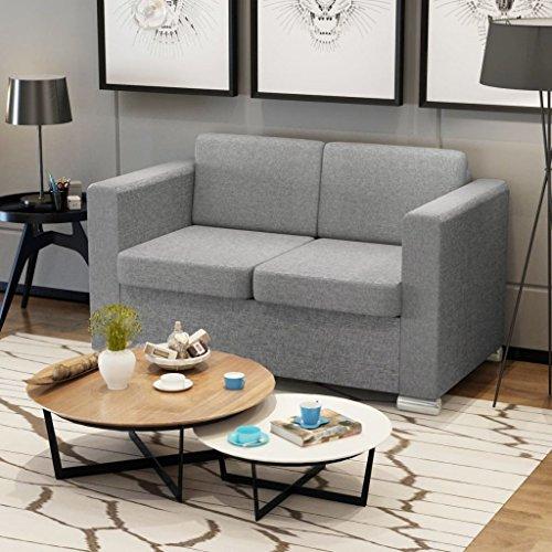 tiauant Mobiliario Sofás Sofa de 2 plazas Tela Gris Claro ...