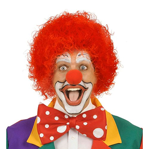 NET TOYS Rote Clown Afro Haare Harlekin Perücke rot Afroperücke Klown Lockenkopf Kindergeburtstag Lockenperücke Mottoparty Schelm Clownperücke Clownsperücke Kostüm Zubehör