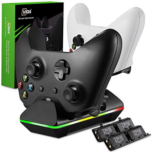 Xbox One Controller-Ladegerät, GAFA Dual Xbox One/One S/One Elite Ladestation mit 4 x 800 mAh wiederaufladbaren Akkupacks für zwei Wireless Controller Charge Kit- Schwarz