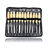 0 ℃ Outdoor 12 Stück Holz-Chisel-Set, professionelle Chisel-Sets Holzschnitzerei