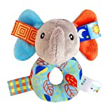 CTGVH Baby-Rassel-Spielzeug in Ringform, Plüschtier mit Quietscher, Lernspielzeug für Kinder, Plüschtier mit Glocke, Elefant mit Ring.