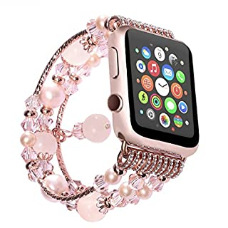Watch Band , ANGGO Fashion Elastic Stretch iwatch Strap Replacement Wristwatch Natural Agate Bracelet for Apple Watch Series 2 Series 1 All Version (38mm / Pink)