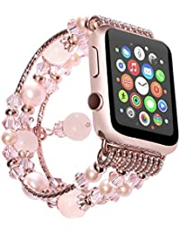 Watch Band , ANGGO Fashion Elastic Stretch iwatch Strap Replacement Wristwatch Bracelet Agate Naturel pour Apple Watch Series 2 Series 1 All Version (38mm / Rose)