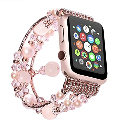 Watch Band , ANGGO Fashion Elastic Stretch iwatch Strap Replacement Wristwatch Bracelet Agate Naturel pour Apple Watch Series 2 Series 1 All Version (42mm / Rose)