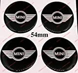 Adesivi coprimozzi Mini Cooper, 54mm, Wing Design, Effetto 3D, Sticker resinati