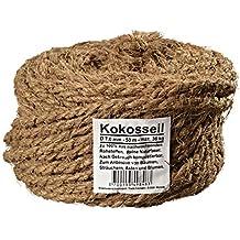 Ø 7,0 mm cuerda de coco hilos de coco fijación para el árbol hilo para el jardín lazo para el jardín de fibra de coco al 100% de fibra natural (Ø 7,0 mm - 50 m - capacidad de carga de max. 36 kg)