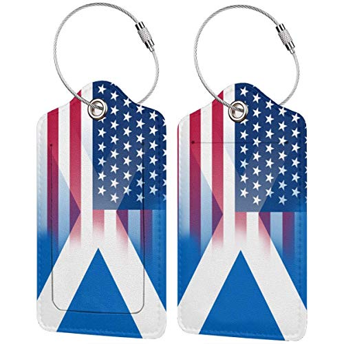 USA Scotland Flag Leather Travel Luggage Tag Suitcase ID Tags Baggage Bag Tag Labels 2 PCS 00df6740