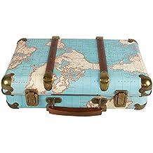 Amazon maletas vintage around the world vintage map hard suitcase storage decoration wedding keepsake gumiabroncs Choice Image