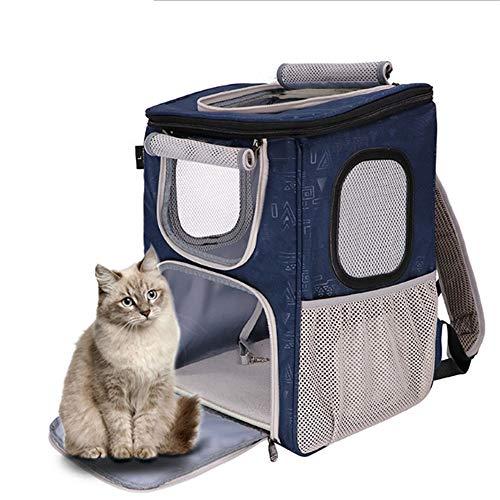 DHCY Haustierrucksack Transportbox Pet Rucksack Weltraumkapsel faltbar herausnehmbarer atmungsaktiver Rucksack Hund Katze heraus tragbare Katze Käfig Hund Reise Box Rucksack,Blue