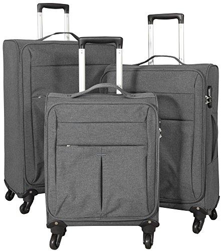 1 Kofferset 3tlg Weichgepäck M L XL Farbe anthrazit Nylonkoffer Jeansoptik Trendyshop365