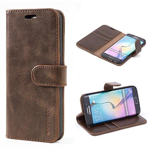 Mulbess Handyhülle für Samsung Galaxy S6 Edge Hülle, Leder Flip Case Schutzhülle für Samsung Galaxy S6 Edge Tasche, Vintage Braun