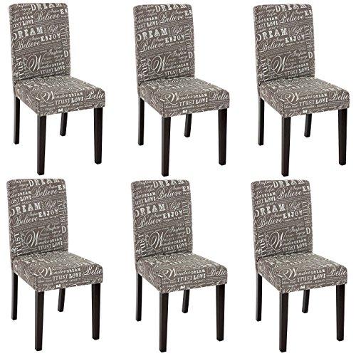 Bein-esszimmer-serie (Mendler 6X Esszimmerstuhl Stuhl Lehnstuhl Littau ~ Textil mit Schriftzug, grau, dunkle Beine)