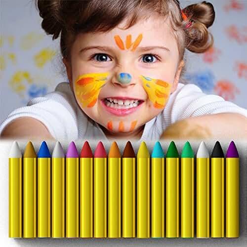jirafa kawaii para colorear y mas JamBer crayones de pintura de cara 16 colores pintados con pintura corporal para niños, seguros y no tóxicos