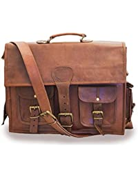 "Mangal Murti Handicrafts15"" Twin Pocket Leather Messenger Bag Business Bag Briefcase Laptop Case"