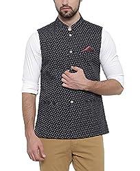 SHOWOFF Mens Cotton Sleeveless Slim Fit Printed Black Nehru Jacket