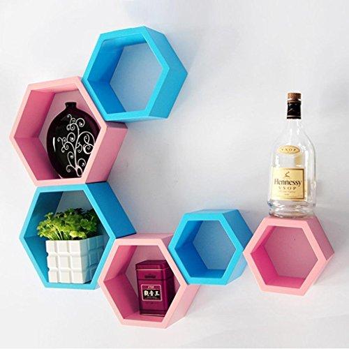 Usha Furniture Graywood Hexagon Shape Wall Shelf Set Of 6 (Sky Blue & Pink)  available at amazon for Rs.1899