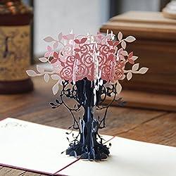 NUOLUX Vaso di fiori 3D Pop Up scheda di regalo Handmade Greeting Card (rosa)