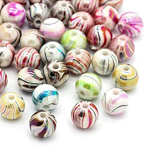 The Bead and Button Box - 100 Striped and Swirl Acrylic Spacer Beads 8mm. Hole size 1.5mm (Approx). Perfect for Jewellery making and Craft work